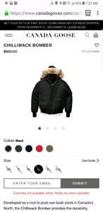 Canada goose chilliwack large mens black BRAND NEW FUR