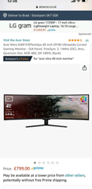 Acer 49INCH ultra wide curved monitor