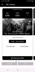ALICE IN CHAINS TICKETS FOR SEATTLE SEPT 20TH