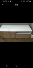 IKEA sideboard with cupboard and shelving, glass top