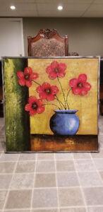 Peinture à l'huile - Fleurs rouges et vase bleu