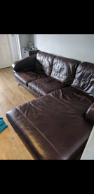 Leather Sofa. Set of 3 and footstool