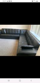 Corner L shape leather black 8 seater fold bed storage sofa sea
