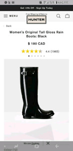 Hunter tall gloss boots  black