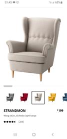 Light Grey Ikea Strandmon armchair
