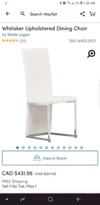 White leather dining chairs