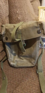 Vintage Military Canvas   GAS MASK BAG.