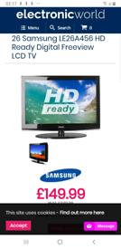 Samsung LE26A456 TV /26in LCD tv/as built in freeview/HDMI
