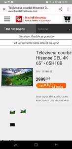 Tv hisense 65 curve 4k