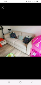 2 x 3/4 seater sofa + automan- off white fabric
