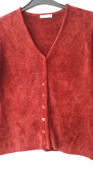 Vintage, Chenille cardigan with square buttons in rouge colour.