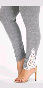 Plus size grey marled leggings lace detail