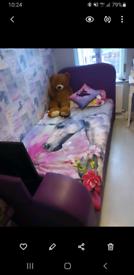 Purple leather single TV bed