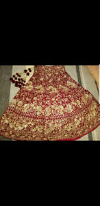 AUTHENTIC RED VELVET INDIAN LEHNGA WITH HAND MADE DABKA WORK