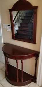 Console and Mirror Table Set