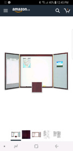 Conference Room White Board 4x4-Feet, Mahogany Finish