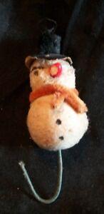 Antique Victorian Spun Cotton Snowman Ornament.