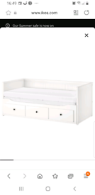 IKEA white soda bed with mattress