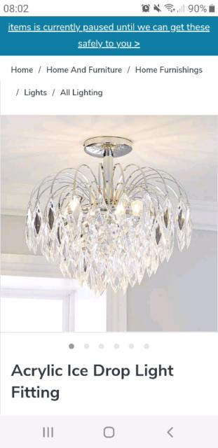 Ceiling lamp bedroom lamp chrome acrylic flowers around 3 flame lighting new