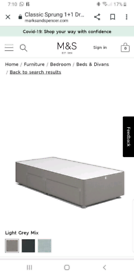 M&S Divan single bed with drawers
