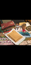 Fabric, cotton, patchwork, sewing bits and pieces bundle