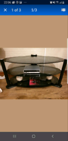 TV Stand for Flat screen TV Black with Glass shelves