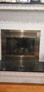 Wood fireplace screen and log holders