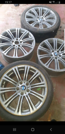 4x BMW 5 stud alloy wheels