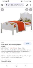 Soild wood white single bed frame