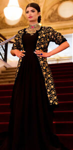 Afgan black velvet formal dress