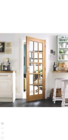 15 lite glazed oak veneer internal door