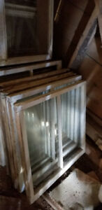 120 Year old wood window sashes + glass