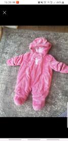Pink fluffy snowsuit 6-9 months