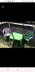 Childrens garden table and 2 chairs
