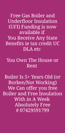 Free Gas Boiler Plus Underfloor Insulation Government Scheme available