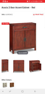 Acacia wood accent cabinet (red) - BRAND NEW