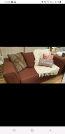 DFS 3 seater, 2 seater metal action sofa bed & footstool cube