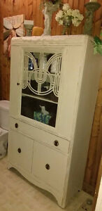 Stunning Shabby Chic Hand Distressed Vintage China Cabinet