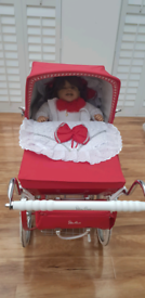 Beautiful Limited Edition Red Silver Cross Dolls Pram with Doll