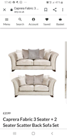 Caprera fabric 3 + 2 sofas like new