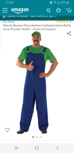 Men's Luigi overalls and hat - size Large