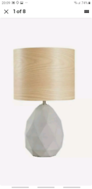 Home Skandi 20cm Concrete Table Lamp Veneer Shade - Grey