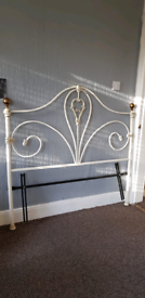 White and Gold Metal Headboard £20