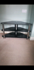 Black glass TV stand for upto 32 inch TV