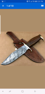 DAMASCUS STEEL HAND MADE HUNTING BOWIE KNIFE
