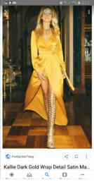 dark gold wrap detail satin maxi playsuit