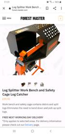 Forest master log splitter catcher, bench, safety cage