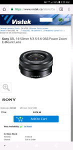 Sony 16-50mm f3.5-5.0 lens + 2 a6000 batteries + holster + strap
