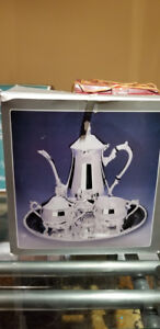 Silver Plated 3 pieces Coffee Set with Tray