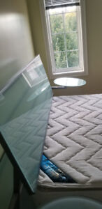Queen Bed:  Frame, Mattress & Glass Desk for sale